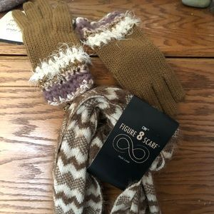 Scarf and gloves set, beige and cream, warm